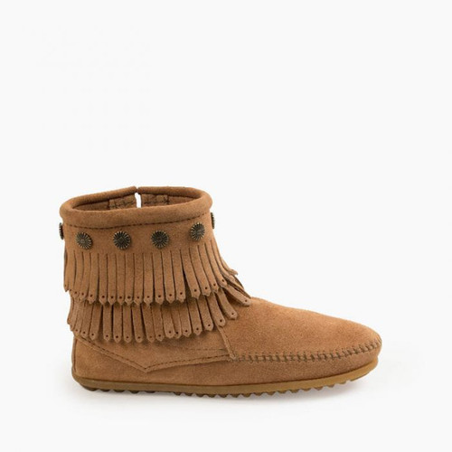 Minnetonka Double Fringe Side Zip- Taupe