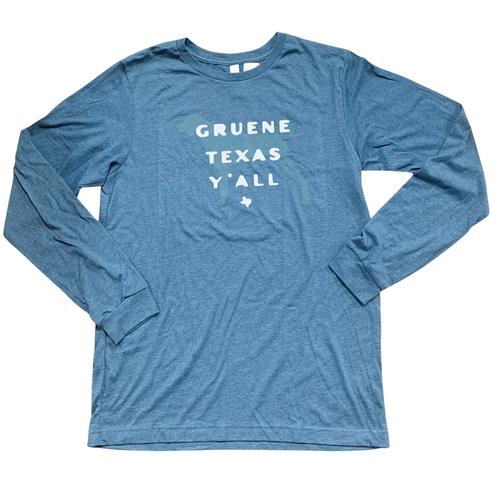 Gruene Texas Y'all Long Sleeve Tee- Deep Blue Heather