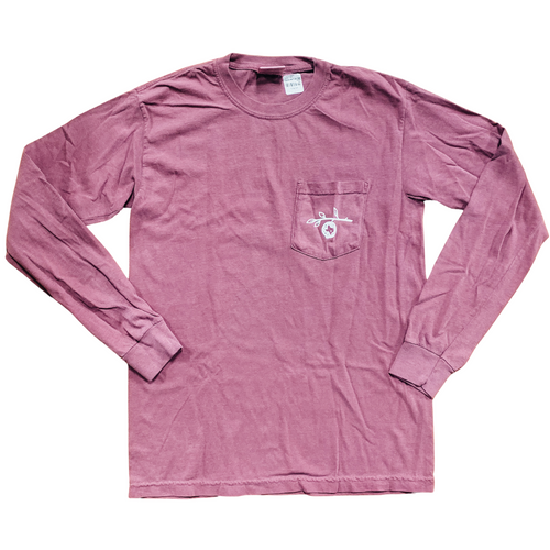 The Pomegranate Logo Long Sleeve Tee- Berry