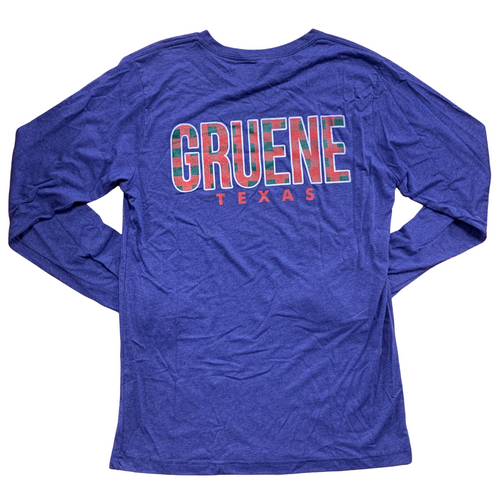 Gruene Holiday Long Sleeve Tee-  Navy/ Plaid