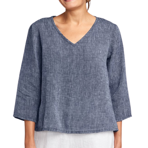 Flax 3/4 Sleeve Crop V Neck- Midnight Yarn Dye