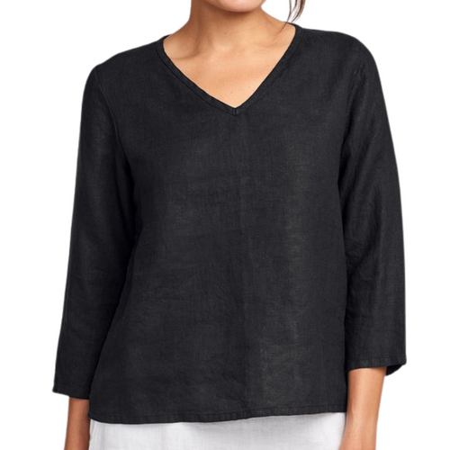 Flax3/4 Sleeve Crop V Neck- Black