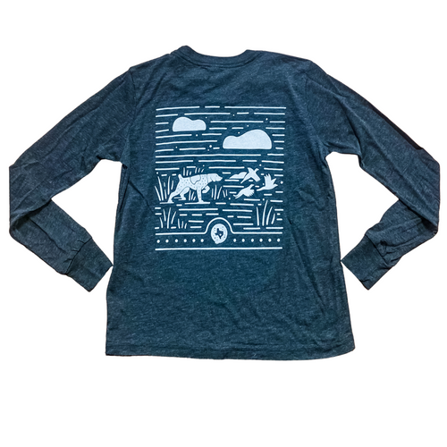 Kids' Dog & Bird Long Sleeve Tee- Dark Grey Heather