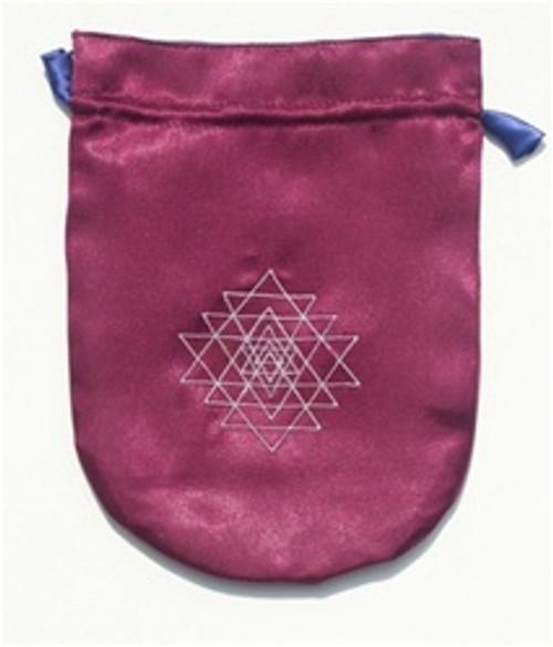 Tarot Bag - Purple Satin Shri Yantra, Embroidered