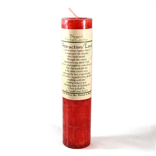 Attraction - Love Blessed Herbal Pillar Candle