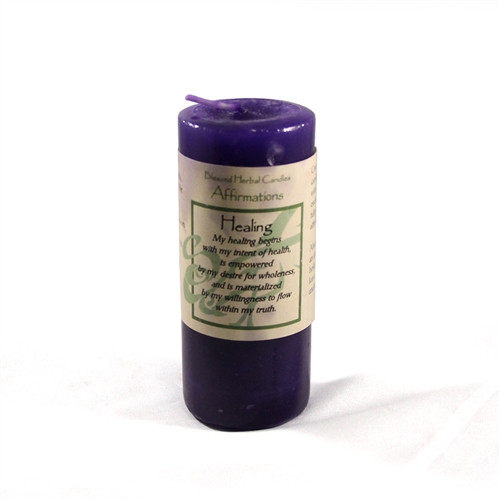Healing Affirmation Pillar Candle - Blessed Herbal