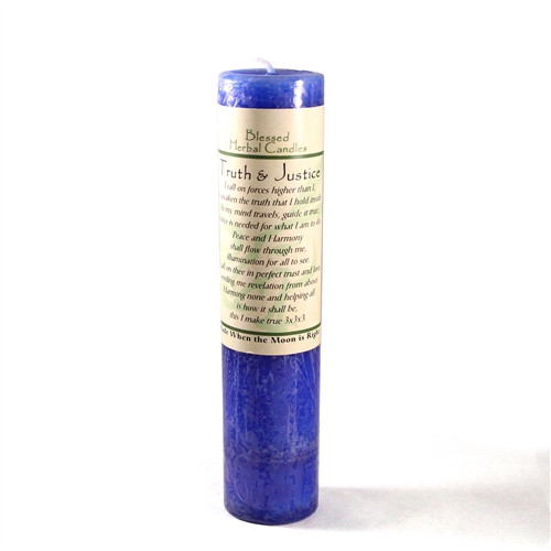 Truth and Justice Blue Blessed Herbal Pillar Candle