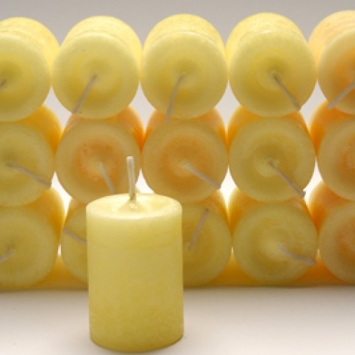 Happiness Votive Candle with Patchouli and Musk Essential Blend