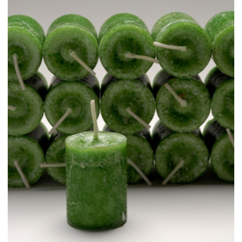 Green Prosperity Votive Candle with Bergamot and Clove Essential Blend