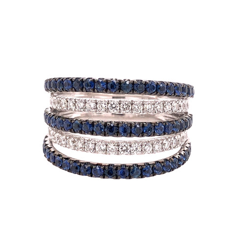 Sapphire & Diamond Floating Ring
