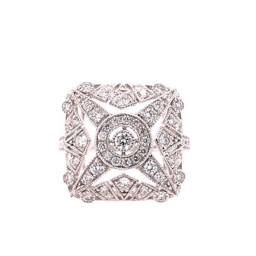 Delicate Deco Square Ring