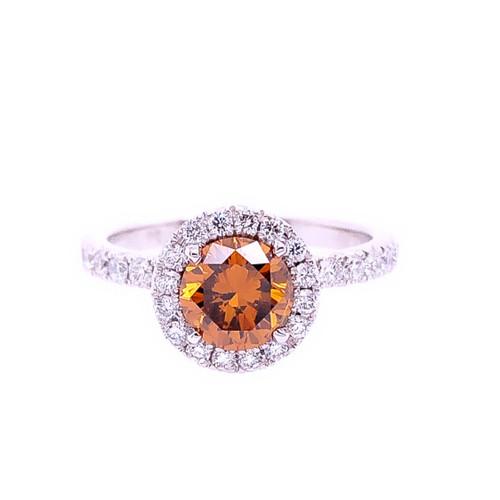 Orange Diamond Halo Ring