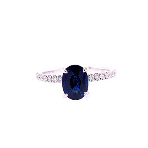 Sapphire Solitaire & Diamond Ring