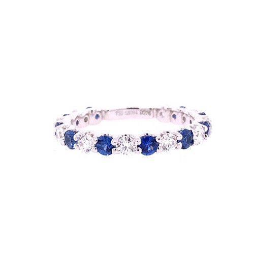 Ceylon Sapphire & Diamond Shared Claw Stacker Ring