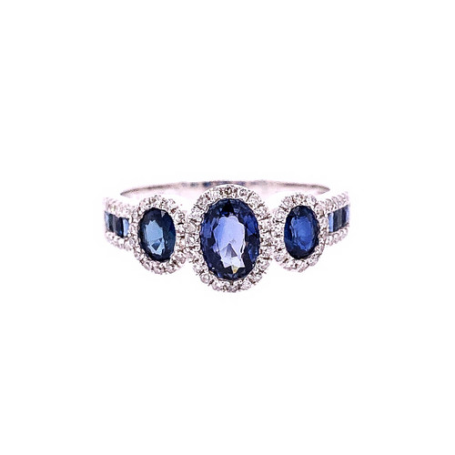 Sapphire & Diamond 3 Halo Ring