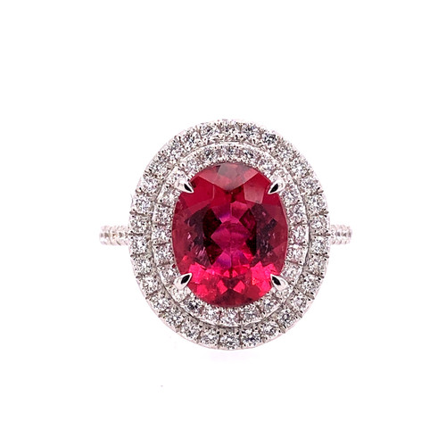 Rubellite & Diamond Halo Ring