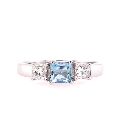 Aquamarine & Diamond Trilogy Ring
