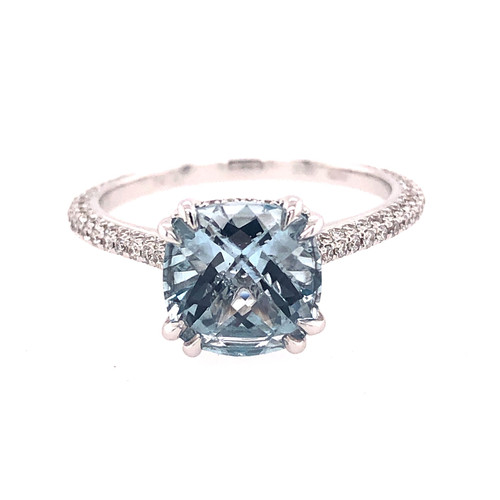 Aquamarine & Diamond  Hidden Halo Ring