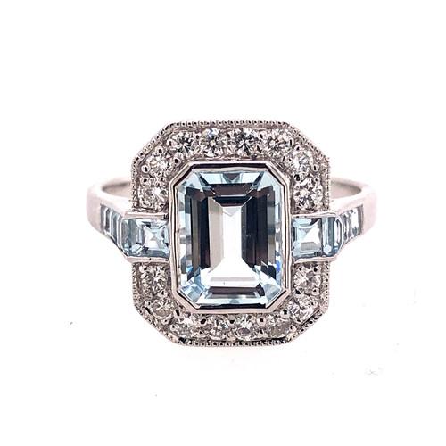 Aquamarine & Diamond Deco Ring