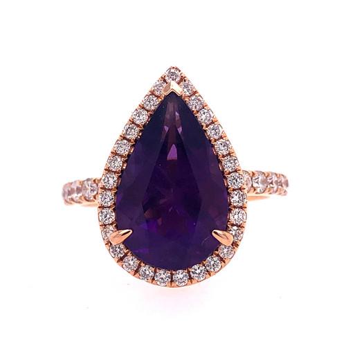 Deep Amethyst Diamond Drop Ring