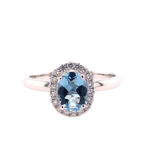 Aquamarine & Diamond Floating Ring