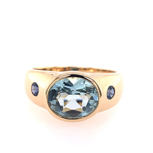 Aquamarine and Iolite Cuff Ring