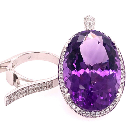 Amethyst & Diamond Convertible Ring