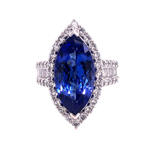 Marquise Cut Tanzanite & Diamond Ring
