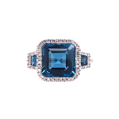 Triple London Blue Topaz & Diamond Halo Ring