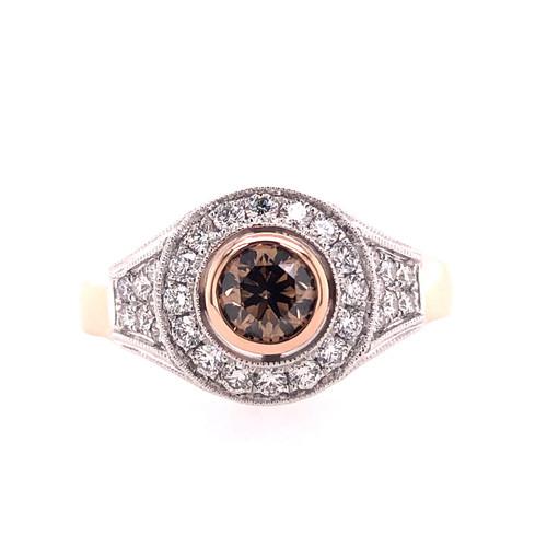 Australian Argyle Chocolate & White Diamond Halo Ring