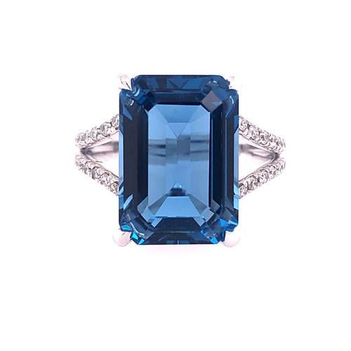 9.35CT London Blue Topaz & Diamond Ring