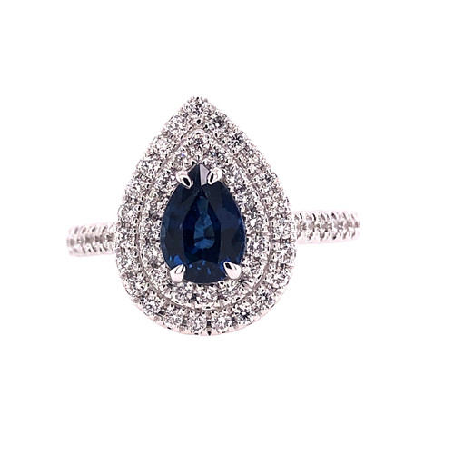 Blue Sapphire and Double Diamond Halo Ring