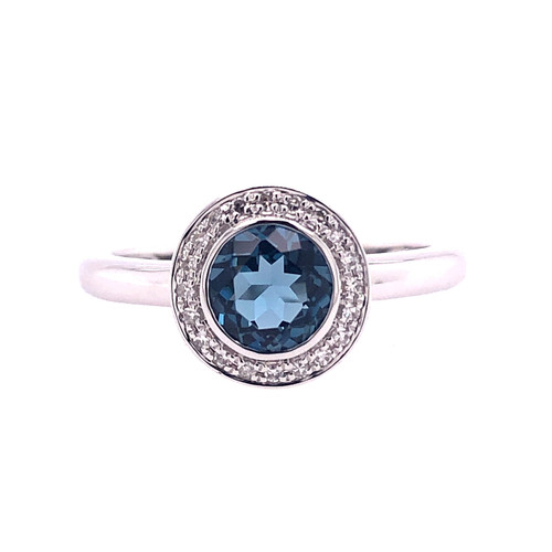 Mini London Blue Topaz Diamond Halo Ring