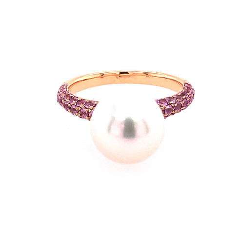 Pink Sapphire & South Sea Pearl Ring