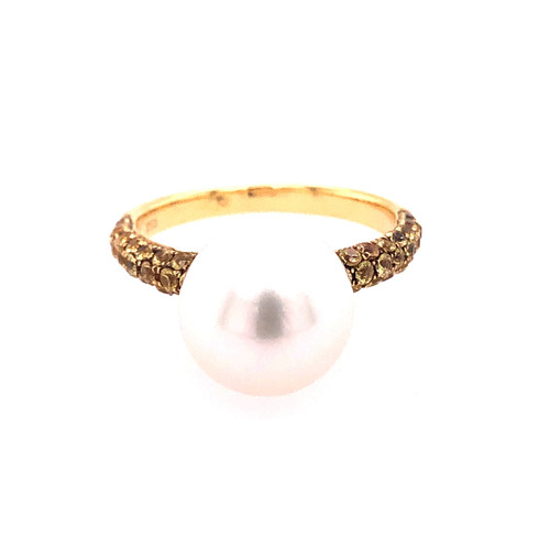 Yellow Sapphire & South Sea Pearl Ring