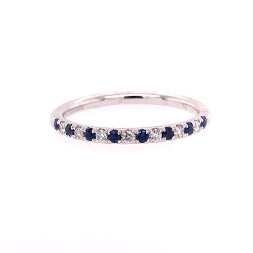Blue Sapphire & Diamond Mini Curve Band