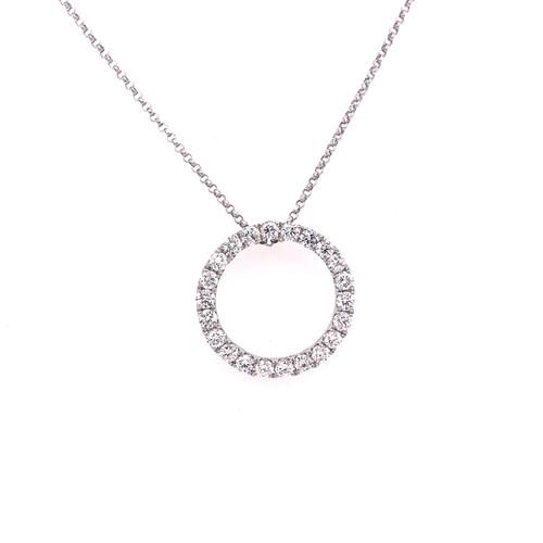 Diamond Claw-Set Circle Pendant