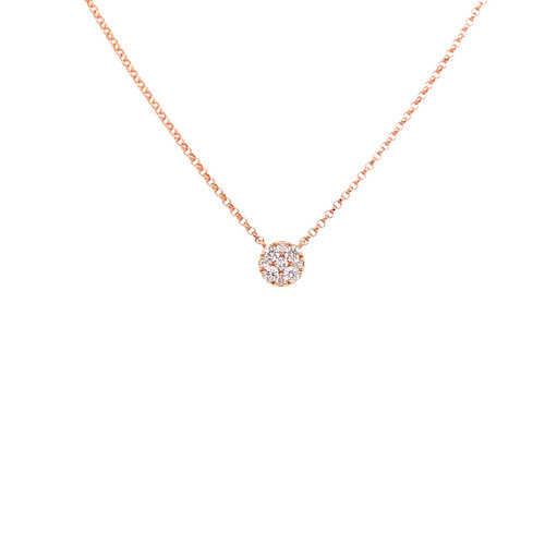 Diamond Cluster Necklace - Rose Gold