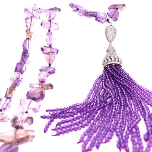 Ametrine & Amethyst Tassel Necklace