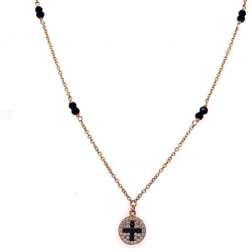 Circle Black Cross Necklace