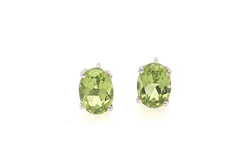 Peridot Oval Stud Earrings