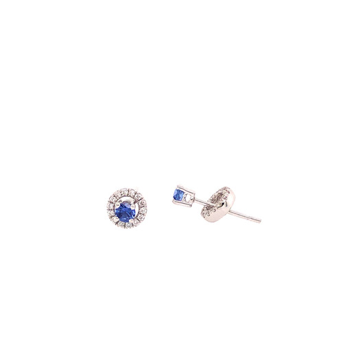 Ceylon Sapphire & Diamond Halo Stud Earrings