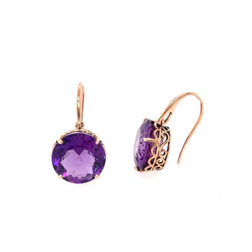 Amethyst Antiqued Earrings