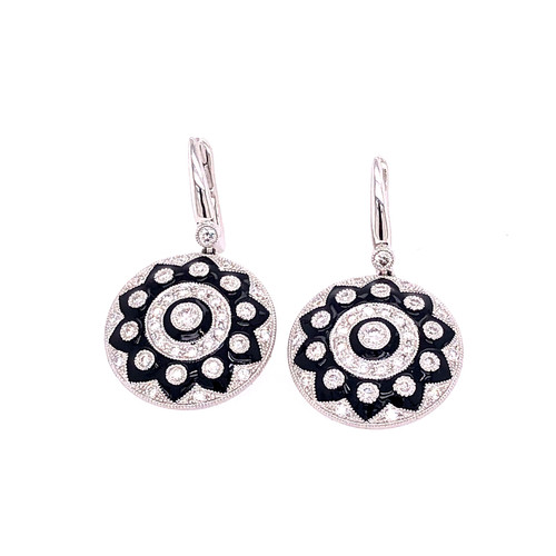 Diamond & Black Enamel Earrings