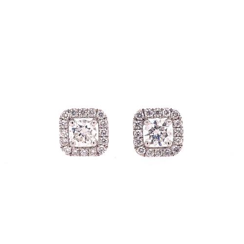 Diamond Square Halo Earrings