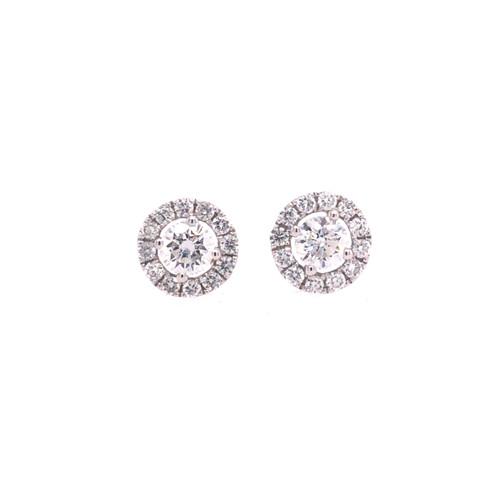 Diamond Round Halo Earrings