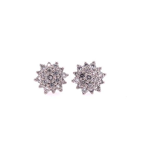 Star Burst Diamond Cluster Earrings