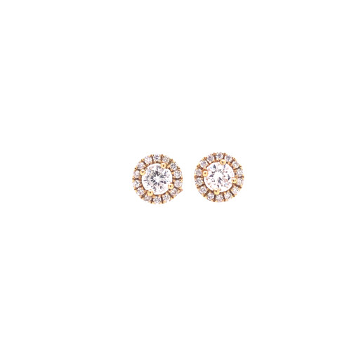 Diamond Halo Stud Earrings - Yellow Gold