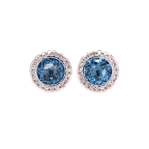 London Blue Topaz Halo Stud Earrings