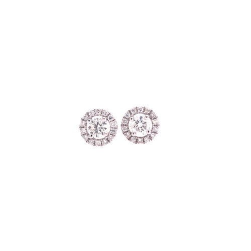 Diamond Halo Stud Earrings - White Gold